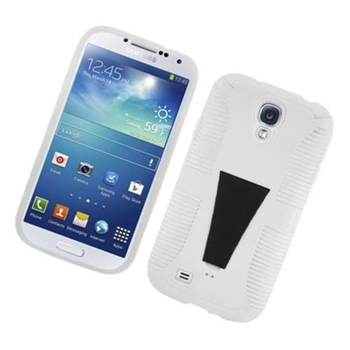 Insten Hard Dual Layer Plastic TPU Cover Case w/stand For Samsung Galaxy S4, White
