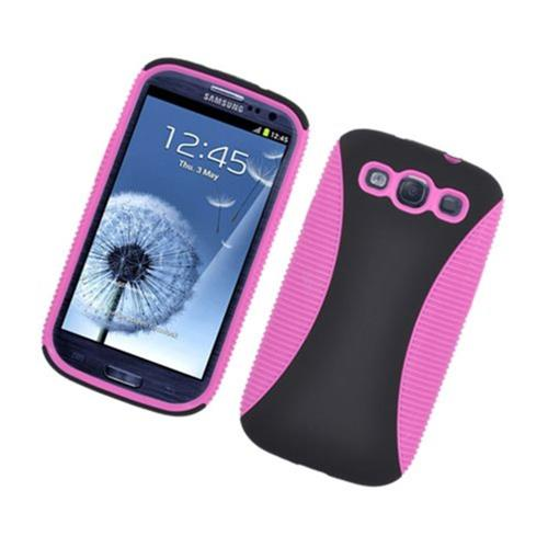 Insten Hard Hybrid TPU Cover Case For Samsung Galaxy S3, Black/Hot Pink