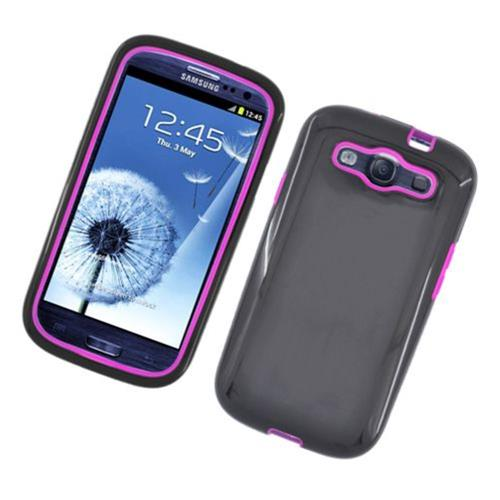 Insten Rubber Hybrid Cover Case For Samsung Galaxy S3, Black/Hot Pink