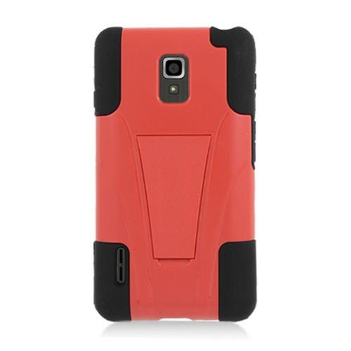 Insten Hard Hybrid Plastic Silicone Case w/stand For LG Optimus F7 US780 (US Cellular), Red/Black