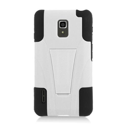 Insten HardPlastic Silicone Case w/stand For LG Optimus F7 US780 (US Cellular), White/Black