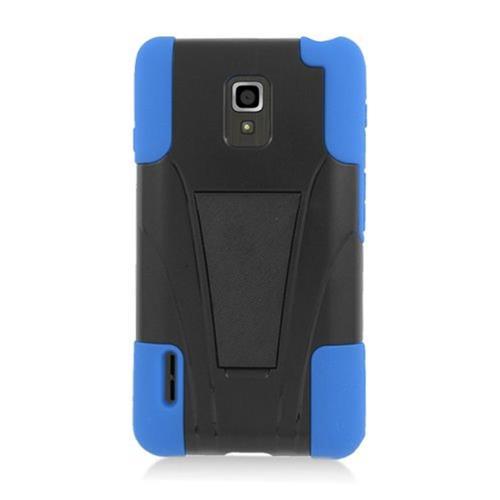 Insten Hard Hybrid Plastic Silicone Case w/stand For LG Optimus F7 US780 (US Cellular), Black/Blue