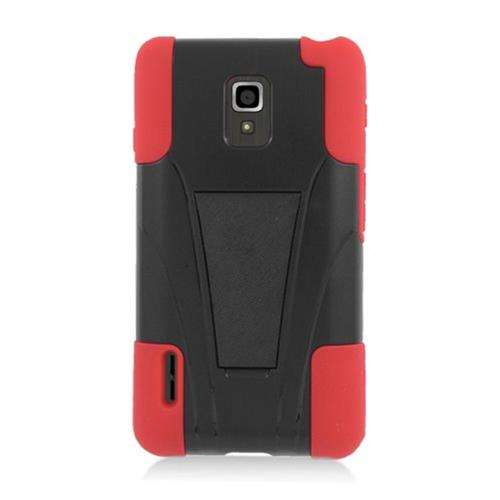 Insten Hard Hybrid Plastic Silicone Case w/stand For LG Optimus F7 US780 (US Cellular), Black/Red