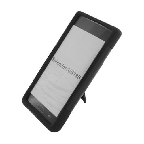 Insten Hard Dual Layer Plastic Silicone Case w/stand For LG Splendor US730 / Venice LG730, Black