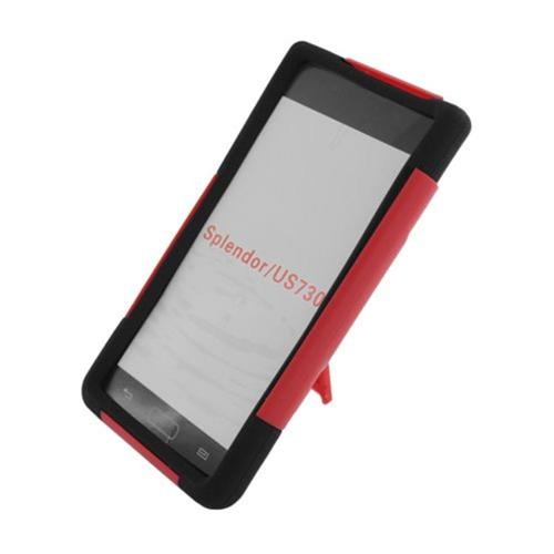 Insten Hard Hybrid Plastic Silicone Case w/stand For LG Splendor US730 / Venice LG730, Red/Black