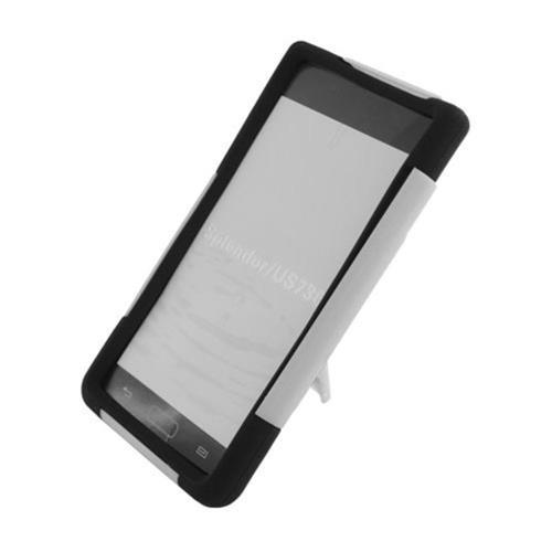 Insten Hard Hybrid Plastic Silicone Case w/stand For LG Splendor US730 / Venice LG730, White/Black
