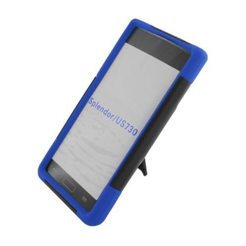 Insten Hard Hybrid Plastic Silicone Case w/stand For LG Splendor US730 / Venice LG730, Black/Blue