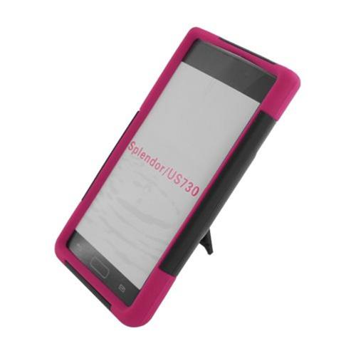 Insten HardPlastic Silicone Case w/stand For LG Splendor US730 / Venice LG730, Black/Hot Pink