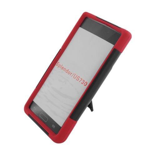 Insten Hard Hybrid Plastic Silicone Case w/stand For LG Splendor US730 / Venice LG730, Black/Red