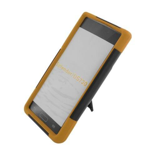 Insten HardPlastic Silicone Case w/stand For LG Splendor US730 / Venice LG730, Black/Yellow