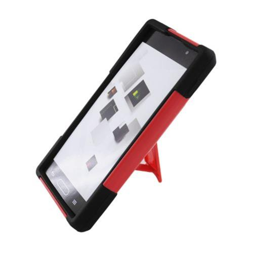 Insten Hard Dual Layer Plastic Silicone Case w/stand For LG Optimus L9 P769, Red/Black