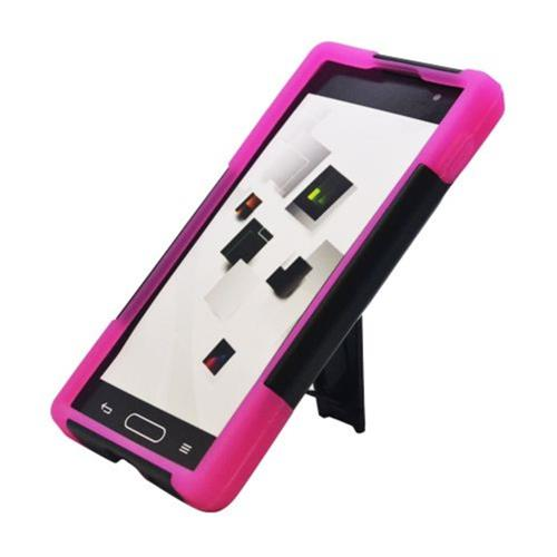 Insten Hard Dual Layer Plastic Silicone Case w/stand For LG Optimus L9 P769, Black/Hot Pink