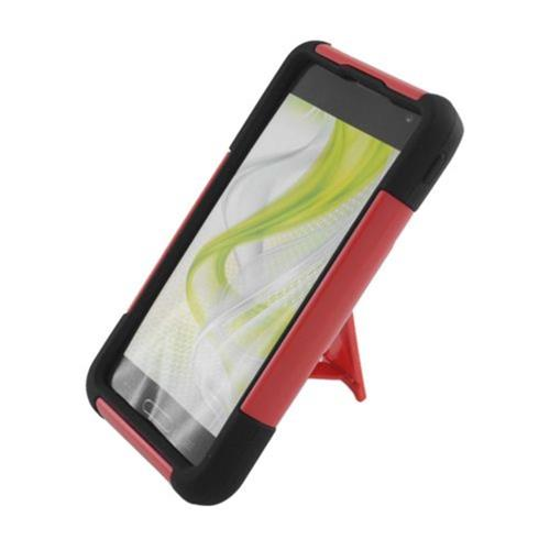 Insten Hard Dual Layer Plastic Silicone Cover Case w/stand For LG Optimus F3 LS720, Red/Black