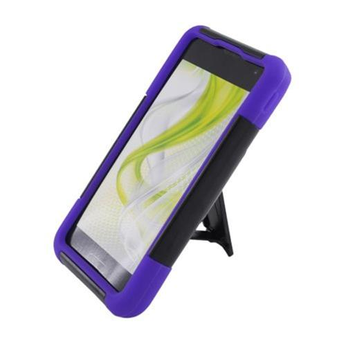 Insten Hard Hybrid Plastic Silicone Case w/stand For LG Optimus F3 LS720, Black/Purple
