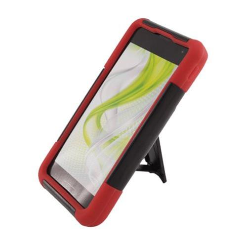 Insten Hard Dual Layer Plastic Silicone Case w/stand For LG Optimus F3 LS720, Black/Red