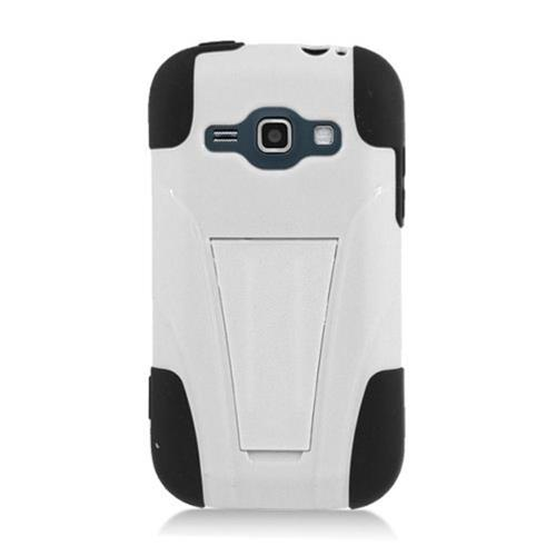 Insten Hard Dual Layer Plastic Silicone Case w/stand For Samsung Galaxy Prevail 2/Ring, White/Black