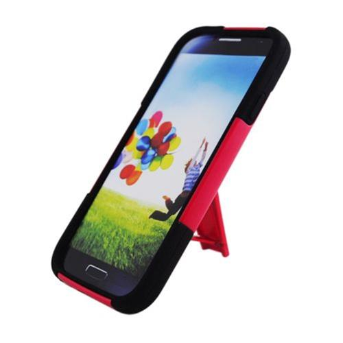 Insten Hard Hybrid Plastic Silicone Case w/stand For Samsung Galaxy S4, Red/Black
