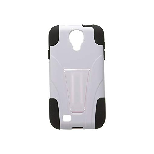 Insten Hard Hybrid Plastic Silicone Case w/stand For Samsung Galaxy S4, White/Black