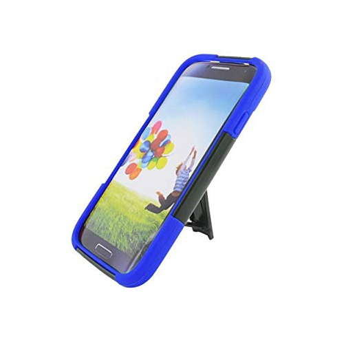Insten Hard Hybrid Plastic Silicone Case w/stand For Samsung Galaxy S4, Black/Blue
