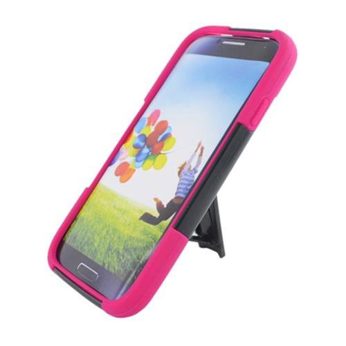Insten Hard Hybrid Plastic Silicone Cover Case w/stand For Samsung Galaxy S4, Black/Hot Pink
