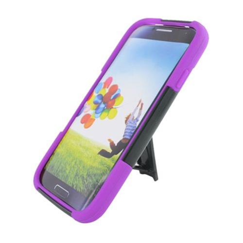 Insten Hard Dual Layer Plastic Silicone Case w/stand For Samsung Galaxy S4, Black/Purple