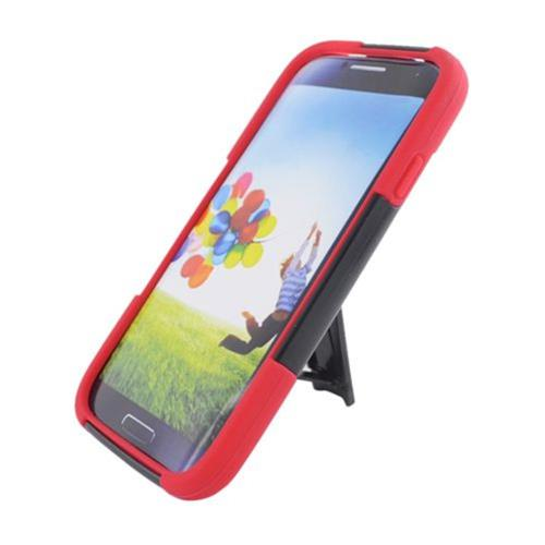Insten Hard Dual Layer Plastic Silicone Cover Case w/stand For Samsung Galaxy S4, Black/Red