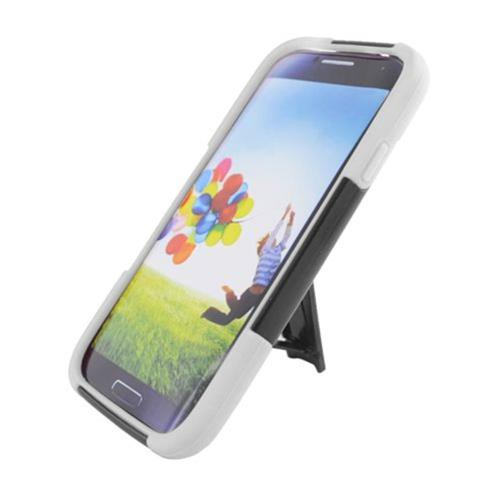 Insten Hard Dual Layer Plastic Silicone Case w/stand For Samsung Galaxy S4, Black/White