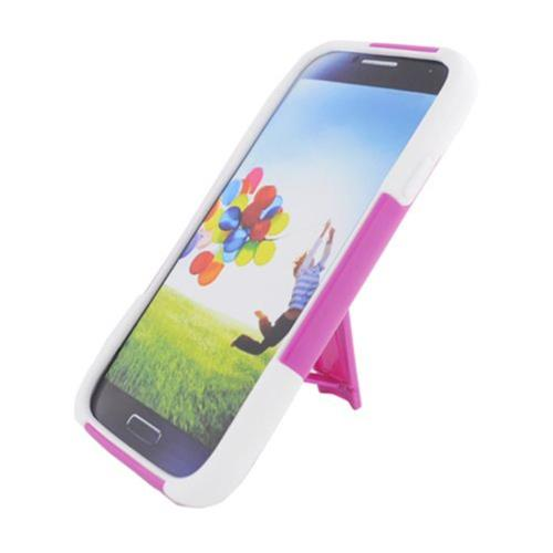 Insten Hard Hybrid Plastic Silicone Case w/stand For Samsung Galaxy S4, Hot Pink/White