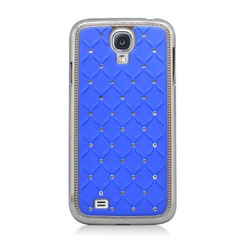 Insten Hard Rubber Coated Chrome Cover Case w/Diamond For Samsung Galaxy S4, Blue