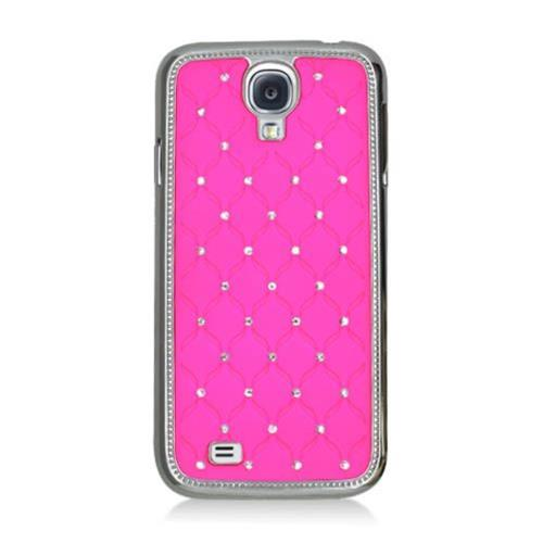 Insten Hard Rubber Coated Chrome Cover Case w/Diamond For Samsung Galaxy S4, Hot Pink