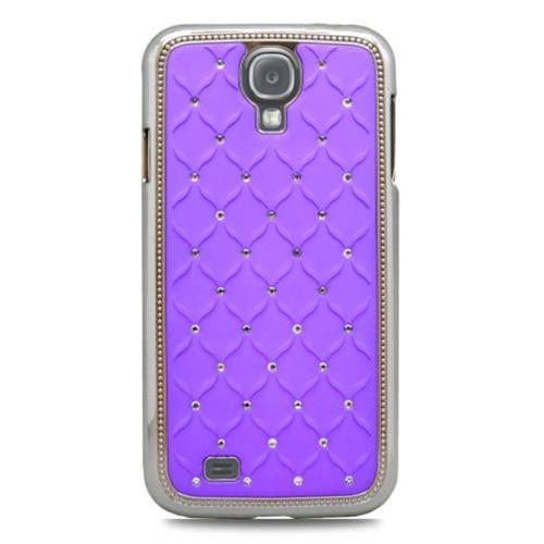 Insten Hard Rubber Chrome Case w/Diamond For Samsung Galaxy S4, Purple