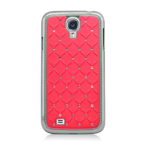 Insten Hard Rubberized Chrome Cover Case w/Diamond For Samsung Galaxy S4, Red