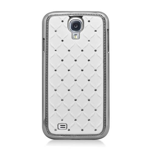 Insten Hard Rubber Coated Chrome Case w/Diamond For Samsung Galaxy S4, White