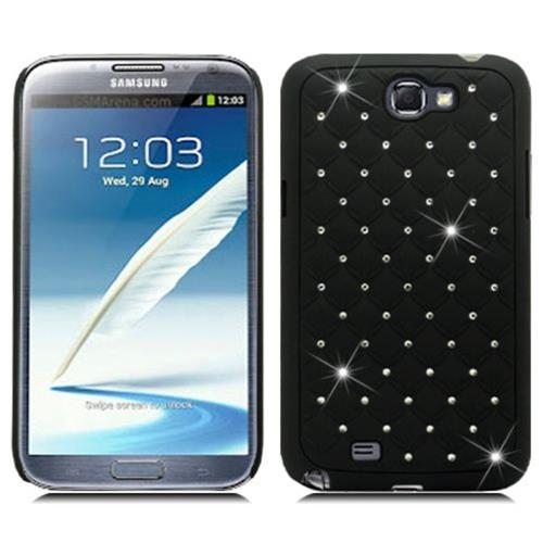 Insten Hard Rubber Coated Cover Case w/Diamond For Samsung Galaxy Note II, Black