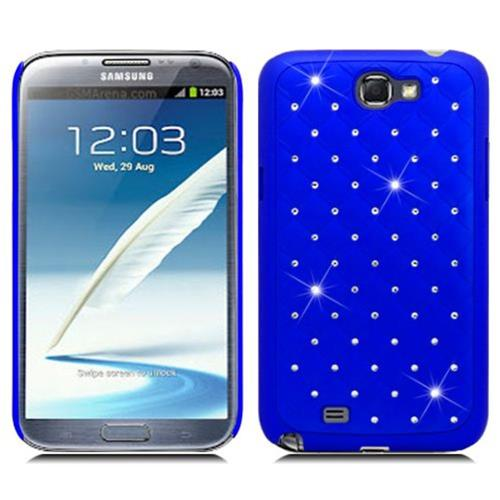 Insten Hard Rubber Coated Cover Case w/Diamond For Samsung Galaxy Note II, Blue
