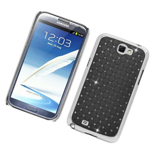 Insten Hard Rubberized Chrome Case w/Diamond For Samsung Galaxy Note II, Black