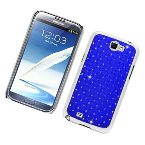 Insten Hard Chrome Case w/Diamond For Samsung Galaxy Note II, Blue