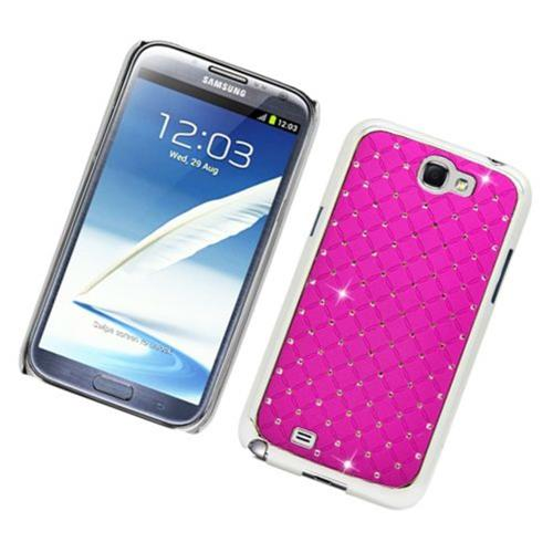 Insten Hard Rubber Coated Chrome Case w/Diamond For Samsung Galaxy Note II, Hot Pink
