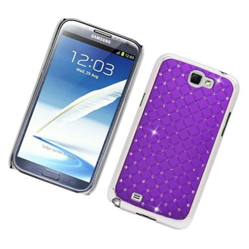 Insten Hard Chrome Cover Case w/Diamond For Samsung Galaxy Note II, Purple