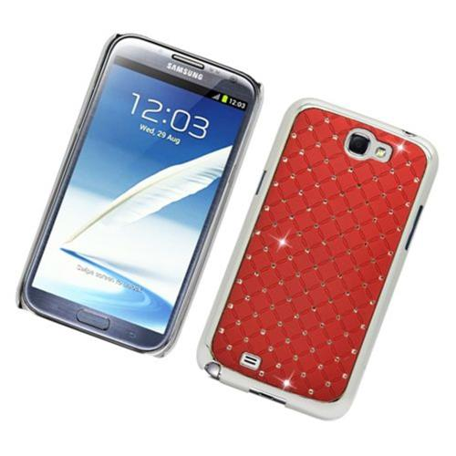 Insten Hard Rubber Chrome Case w/Diamond For Samsung Galaxy Note II, Red