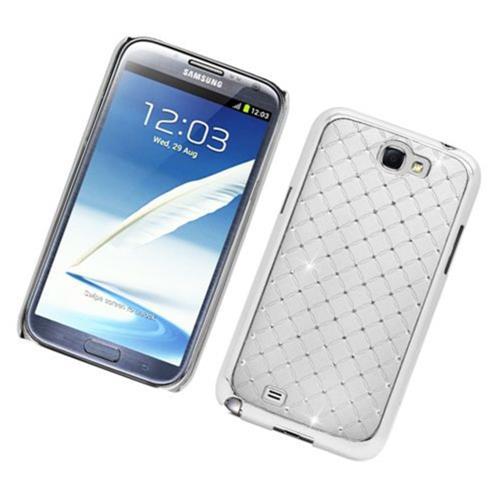 Insten Hard Chrome Cover Case w/Diamond For Samsung Galaxy Note II, White