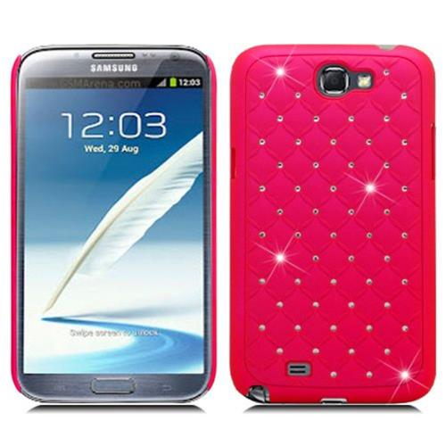 Insten Hard Rubber Coated Cover Case w/Diamond For Samsung Galaxy Note II, Hot Pink