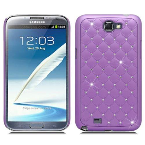 Insten Hard Rubber Cover Case w/Diamond For Samsung Galaxy Note II, Purple