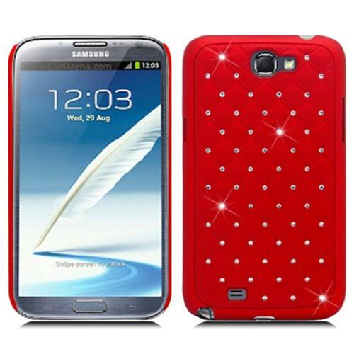 Insten Hard Case w/Diamond For Samsung Galaxy Note II, Red