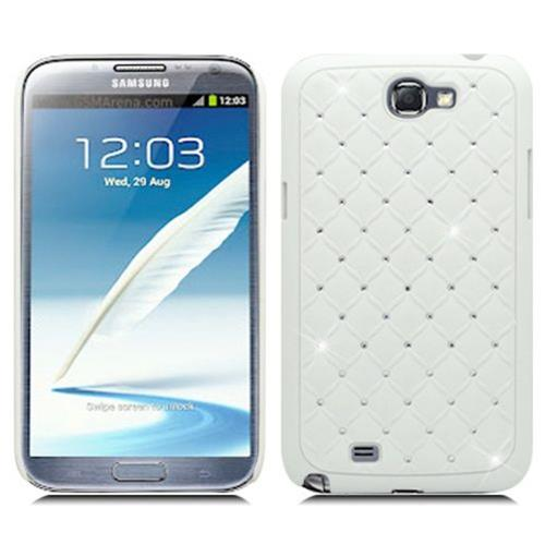 Insten Hard Rubber Coated Cover Case w/Diamond For Samsung Galaxy Note II, White