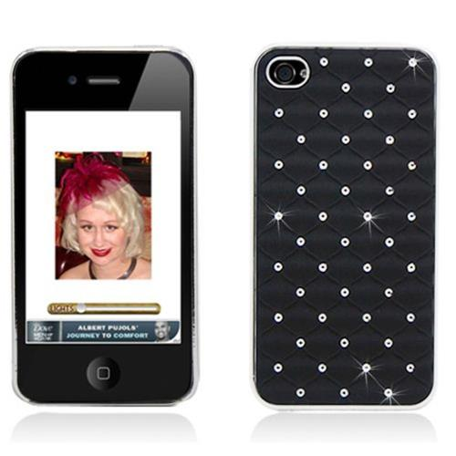 Insten Hard Rubber Chrome Case w/Diamond For Apple iPhone 4/4S, Black