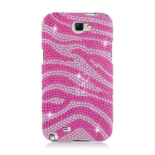 Insten Zebra Hard Diamante Case For Samsung Galaxy Note II, Hot Pink/Pink