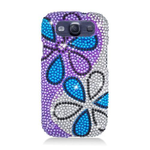 Insten Flowers Hard Bling Cover Case For Samsung Galaxy S3, Purple/White