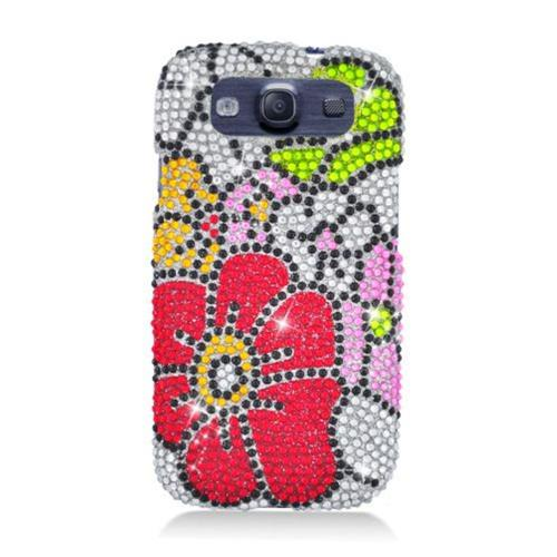 Insten Flowers Hard Bling Case For Samsung Galaxy S3, Pink/Red
