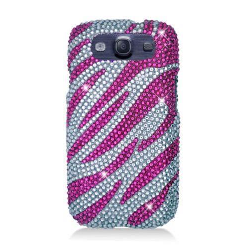 Insten Zebra Hard Diamond Case For Samsung Galaxy S3, Hot Pink/Silver